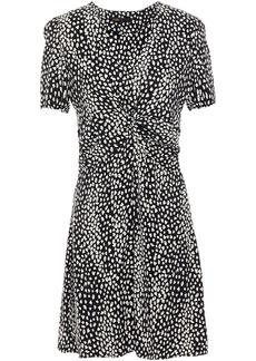 Maje Woman Ripi Twist-front Cupro-blend Leopard-jacquard Mini Dress Black