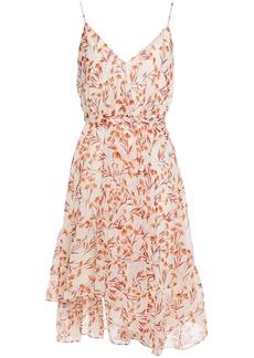 Maje Woman Risota Belted Metallic Floral-print Gauze Mini Dress Ecru