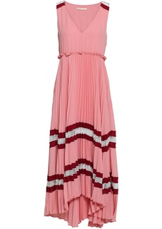 Maje Woman Ritello Lace-trimmed Pleated Striped Crepe Midi Dress Blush