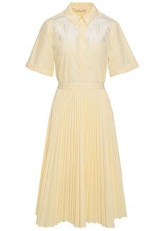 Maje Woman Rivers Cutout Pleated Embroidered Poplin Midi Dress Pastel Yellow