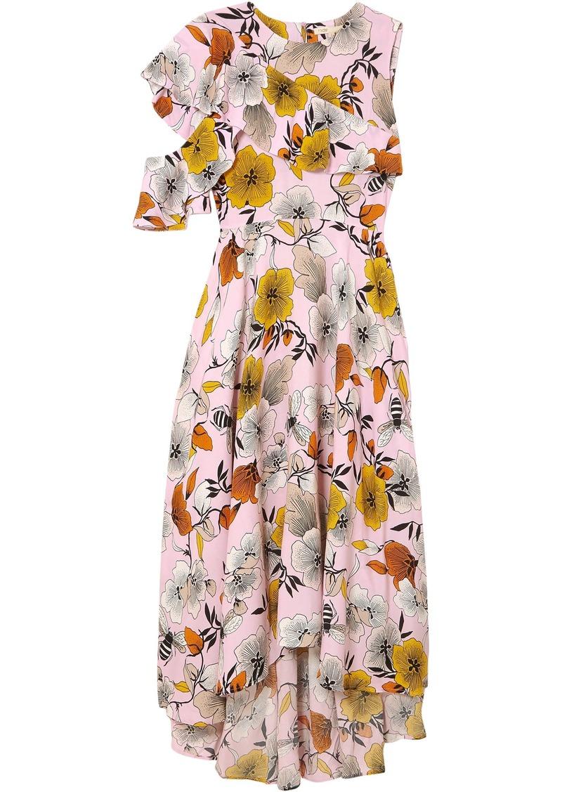Maje Woman Rivola Cold-shoulder Ruffled Floral-print Crepe Midi Dress Baby Pink