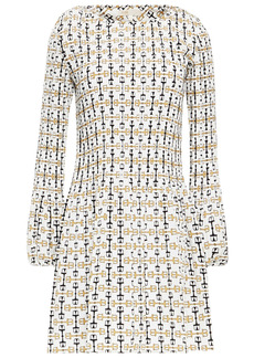 Maje Woman Rockina Pleated Printed Crepe De Chine Mini Dress White