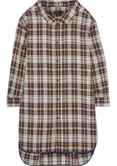 Maje Woman Romel Checked Twill Mini Shirt Dress Light Brown