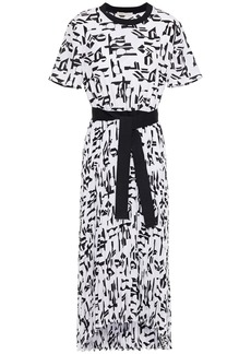 Maje Woman Rosyla Printed Plissé Crepe De Chine Midi Dress White