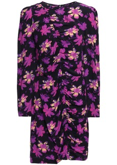 Maje Woman Ruched Floral-print Crepe Mini Dress Purple