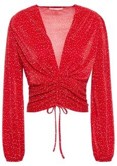 Maje Woman Ruched Polka-dot Plissé-satin Top Red