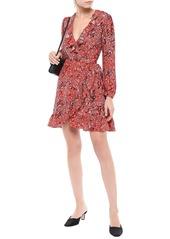 Maje Woman Ruffle-trimmed Leopard-print Crepe Mini Wrap Dress Tomato Red
