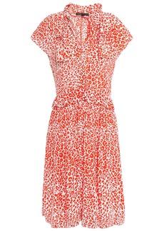 Maje Woman Ruffled Crepe Dress Orange