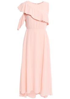 Maje Woman Ruffled Crepe Midi Dress Peach