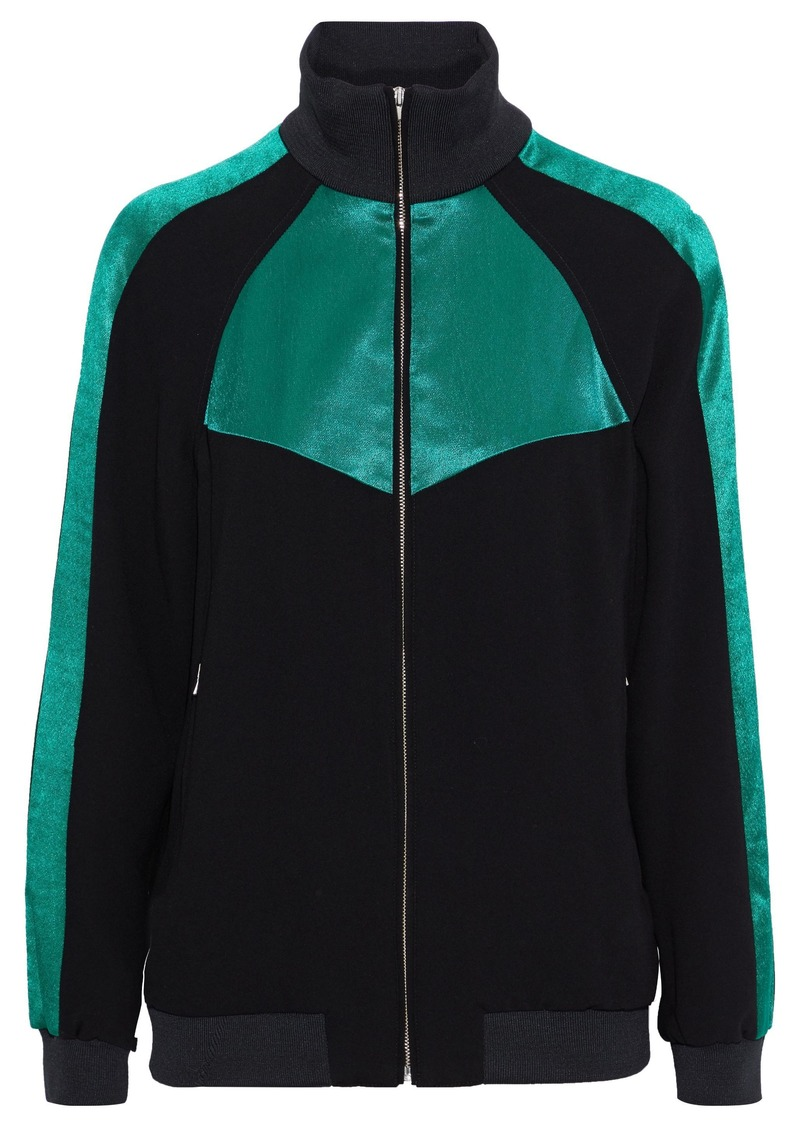 Maje Woman Satin-paneled Crepe Jacket Black