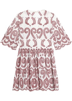 Maje Woman Scalloped Broderie Anglaise Cotton Mini Dress White