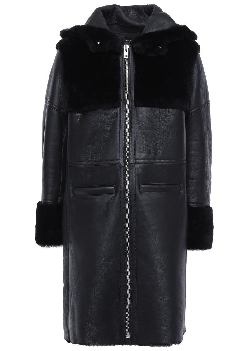 Maje Woman Shearling Hooded Coat Black
