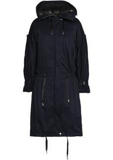 Maje Woman Stretch-cotton Gabardine Hooded Coat Navy