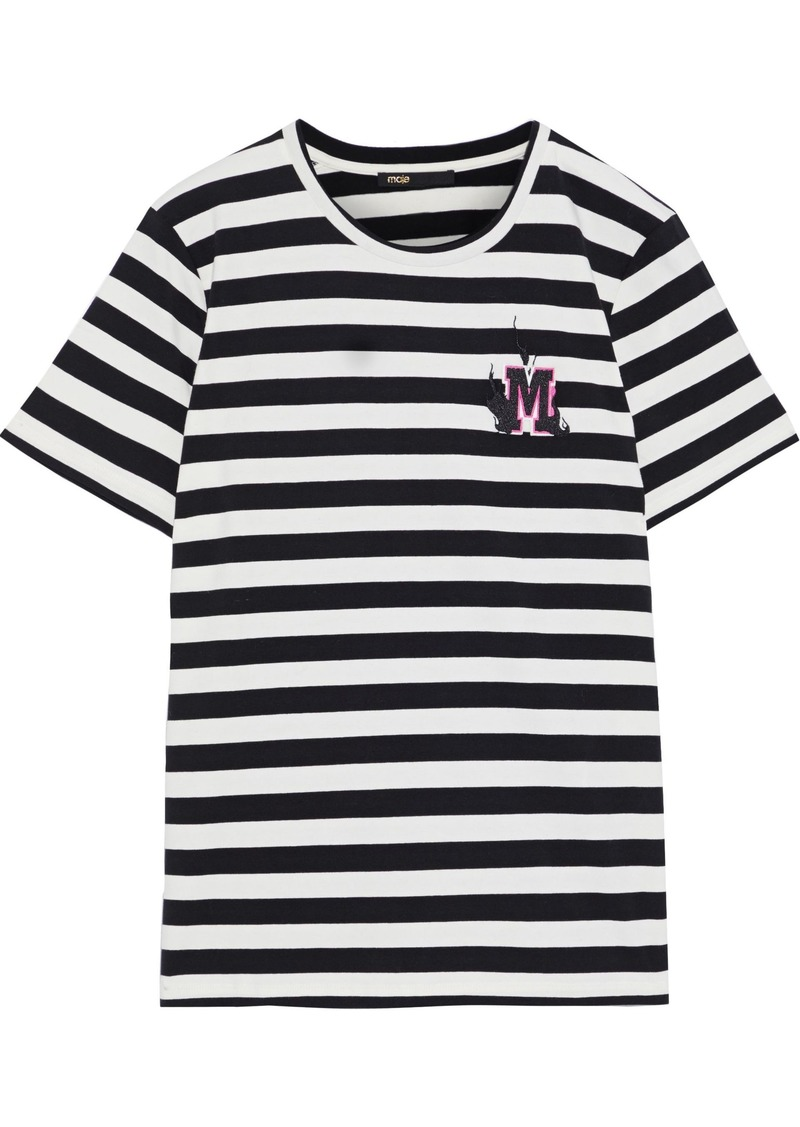 Maje Woman Tamino Embroidered Striped Stretch-cotton Jersey T-shirt Black