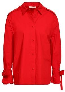 Maje Woman Tie-detailed Cotton-poplin Shirt Red