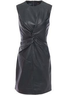 Maje Woman Twist-front Leather Mini Dress Dark Green