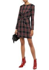 Maje Woman Twist-front Checked Twill Mini Dress Black