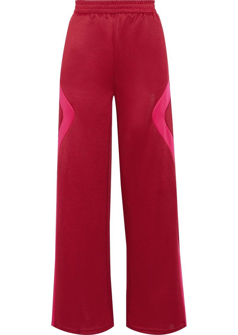 Maje Woman Two-tone Tech-jersey Track Pants Claret