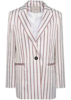 Maje Woman Vimaly Striped Cloqué Jacket White