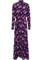 Maje Woman Wrap-effect Floral-print Crepe Maxi Dress Purple