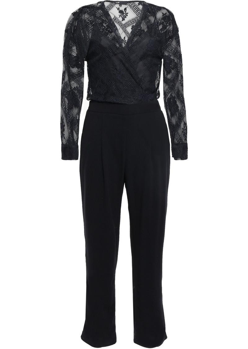 Maje Woman Wrap-effect Lace And Crepe Jumpsuit Black