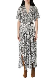 maje Zebra Print Maxi Dress