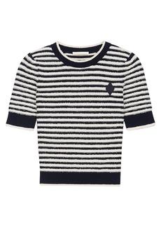 Maje Marinella Striped Cropped Sweater