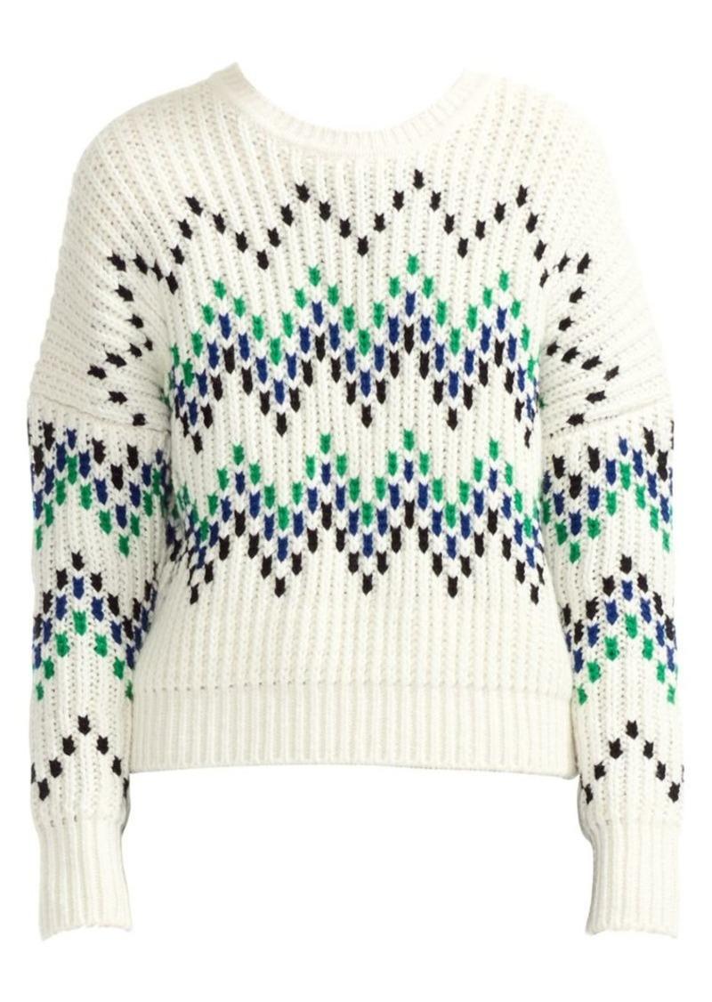 Maje Massimo Chevron Chunky Wool-Blend Rib-Knit Sweater