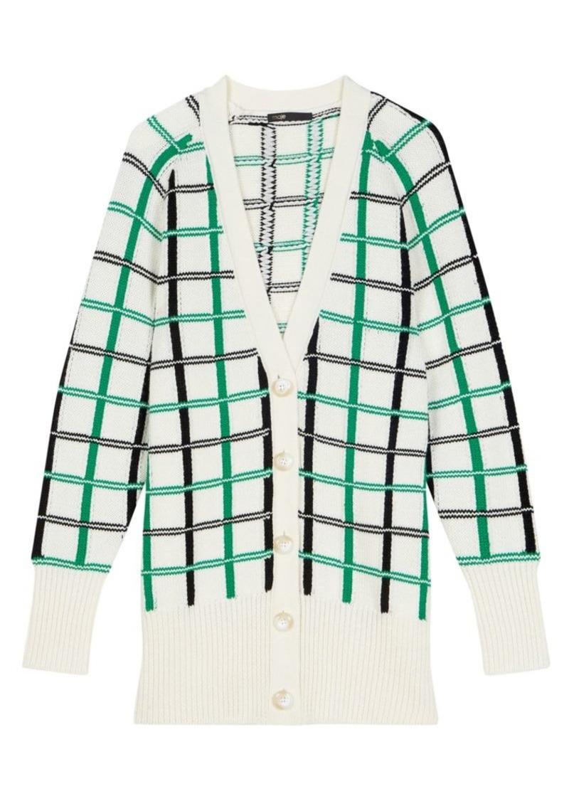 Maje Maya Checker Wool-Blend Cardigan Sweater