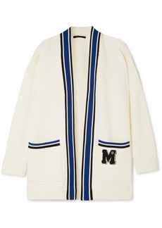 Maje Millenium Oversized Appliquéd Knitted Cardigan