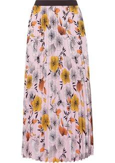 Maje Pleated Floral-print Crepe De Chine Midi Skirt