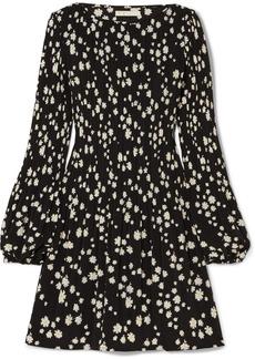 Maje Pleated Floral-print Crepe Mini Dress