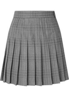 Maje Pleated Plaid Woven Mini Skirt