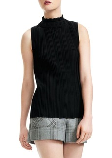 Maje Pleated Turtleneck Top