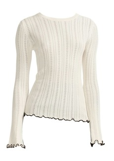 Maje Pointelle Ruffle-Trim Sweater