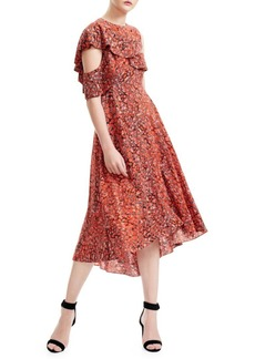 Maje Printed Cold-Shoulder A-Line Dress