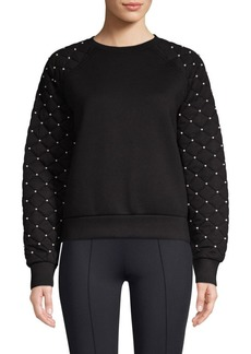 Maje Quilted Sleeve Faux Pearl Sweatshirt
