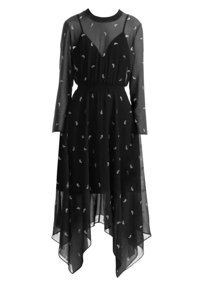 Maje Rabilo Beaded-Paisley Midi Dress