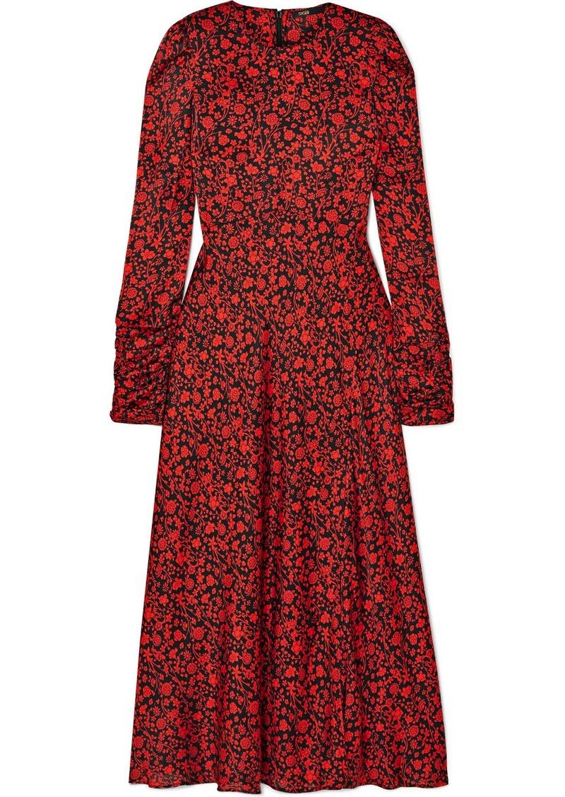 Maje Ravie Floral-print Satin Midi Dress