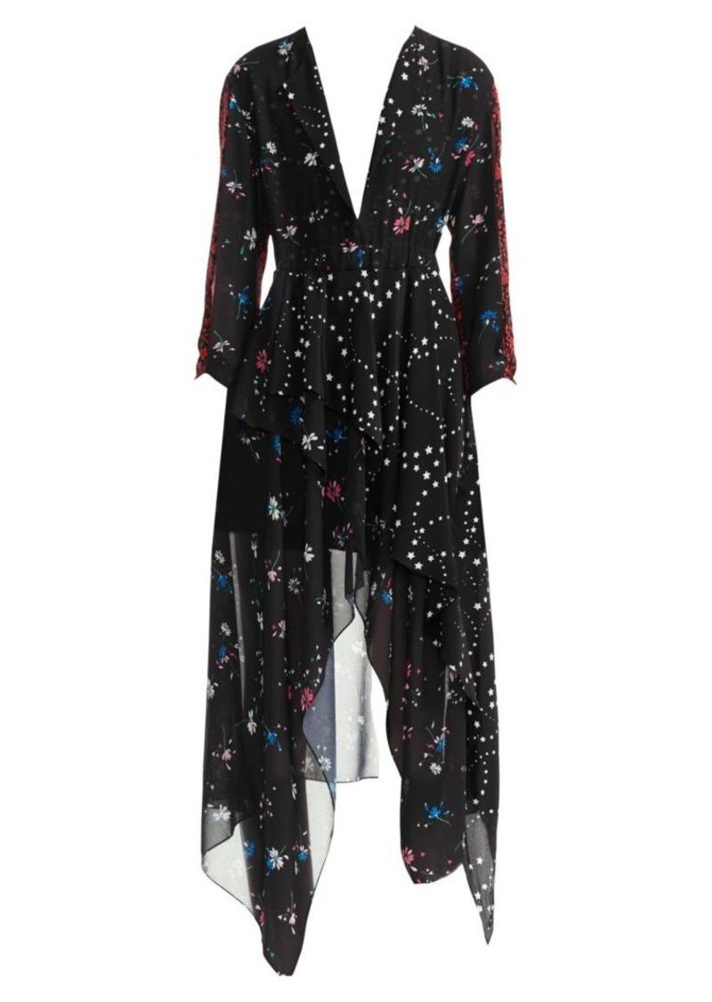 Maje Remix Floral-Print Handkerchief Midi Dress