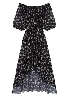 Maje Renelle Printed Off-The-Shoulder Midi Dress