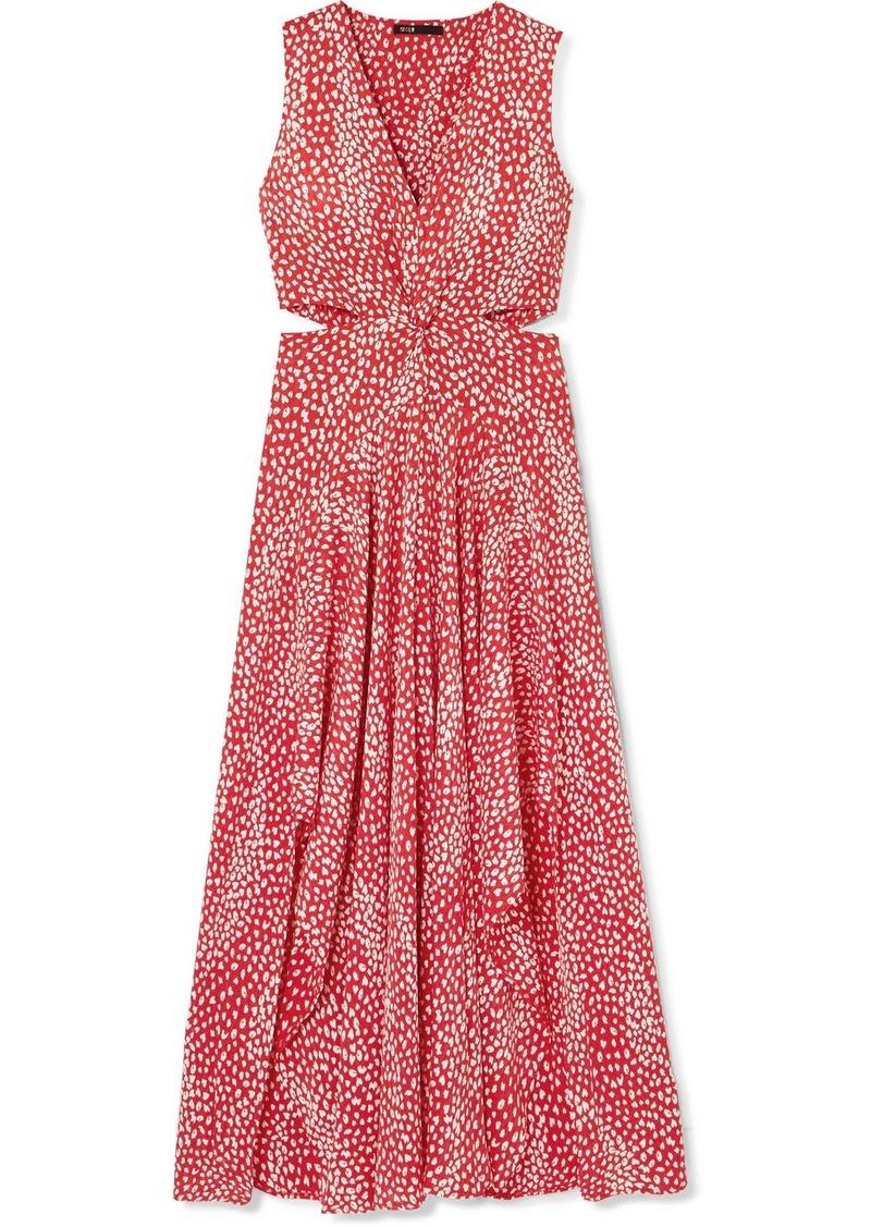 Maje Renila Cutout Leopard-jacquard Maxi Dress