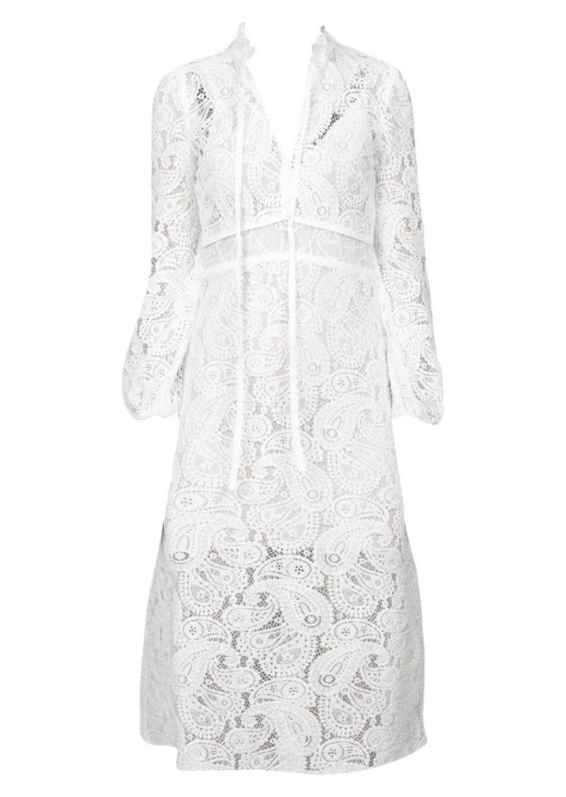 Maje Rilie Lace Paisley Midi Dress