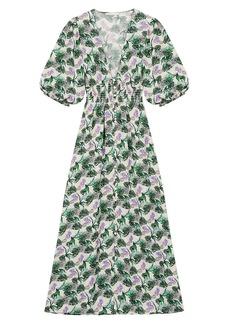 Maje Romantica Printed Linen Midi Dress