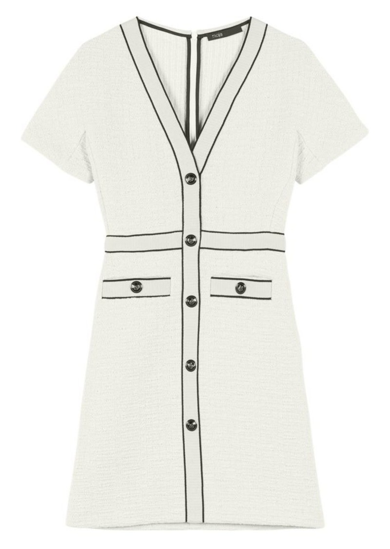 Maje Roppy Tweed A-Line T-Shirt Dress