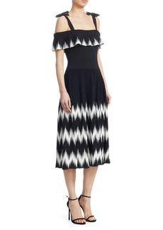 Maje Rosier Cold-Shoulder Midi Dress