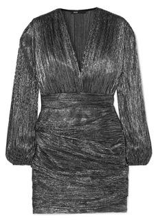 Maje Ruched Lamé Mini Dress