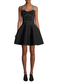 Maje Seamed Logo Strap A-line Dress