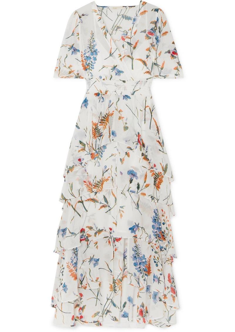 3dfae79f94be Maje Shirred Floral-print Georgette Midi Dress   Dresses