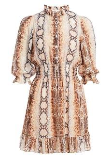 Maje Smocked Button-Front Dress